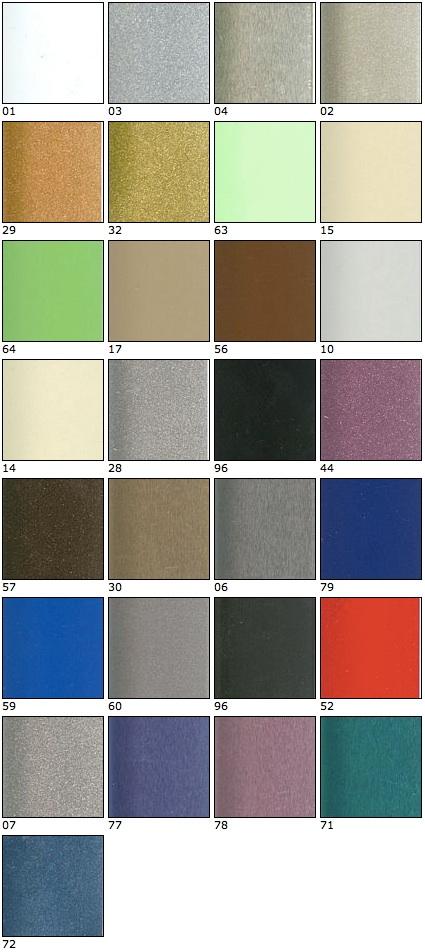 Vzorník horizontálních hliníkových žaluzií